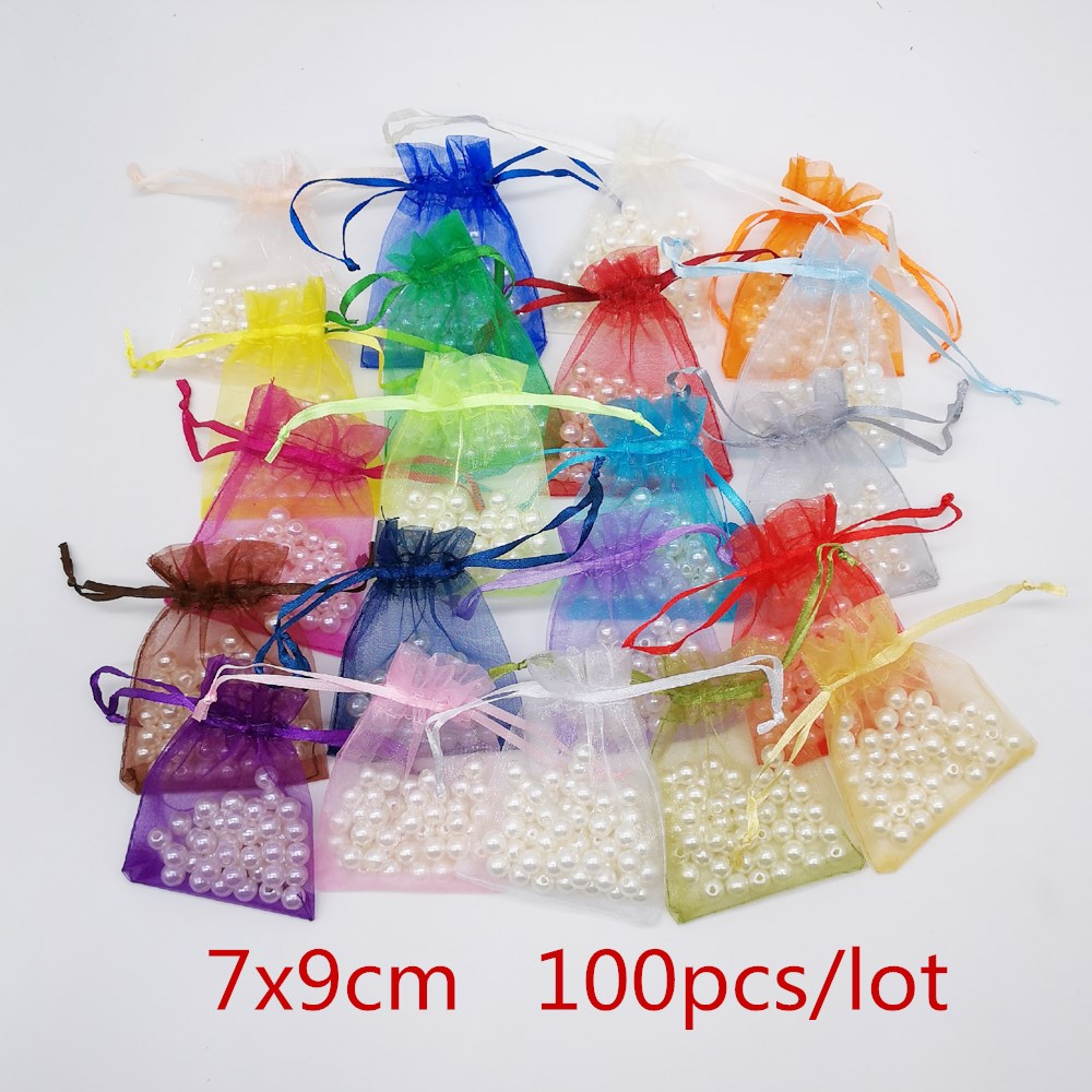 100pcs 7x9cm Organza Bag Jewellery Pouch Jewelry Packaging Display Organza Drawstring Wedding Gift Bag Jewelry Packaging Pouches