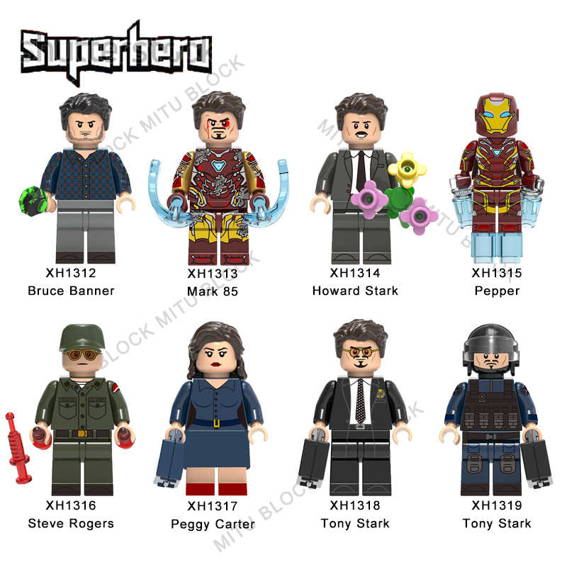 Única Venda Super Heróis Tijolo Bruce Banner Marca 85 Pimenta do Howard Stark Tony Stark Steve Rogers Building Block