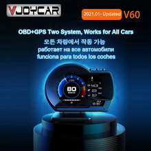 Vjoycar V60 Nieuwste Head Up Display Auto Display OBD2 + Gps Smart Auto Hud Gauge Digitale Kilometerteller Security Alarm Water & Olie Temp Rpm