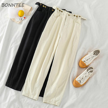 Jeans Women High Waist Korean Style Harajuku Denim Adjustable Button All match Solid All match Womens Ankle Length Trousers Girl