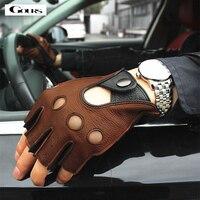 Gours Spring guantes de cuero genuino para hombres conducción sin forro 100% Deerskin GUANTES DE mitad sin dedos, guantes para ejercicios GSM046L