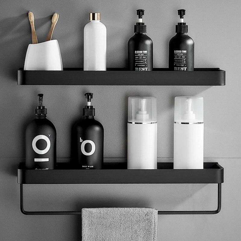 Bathroom Shelf Wall Shelves Shelf Aluminum Black Bathroom Corner Shelf Wall Mounted Black Aluminum Kitchen Storage Holder