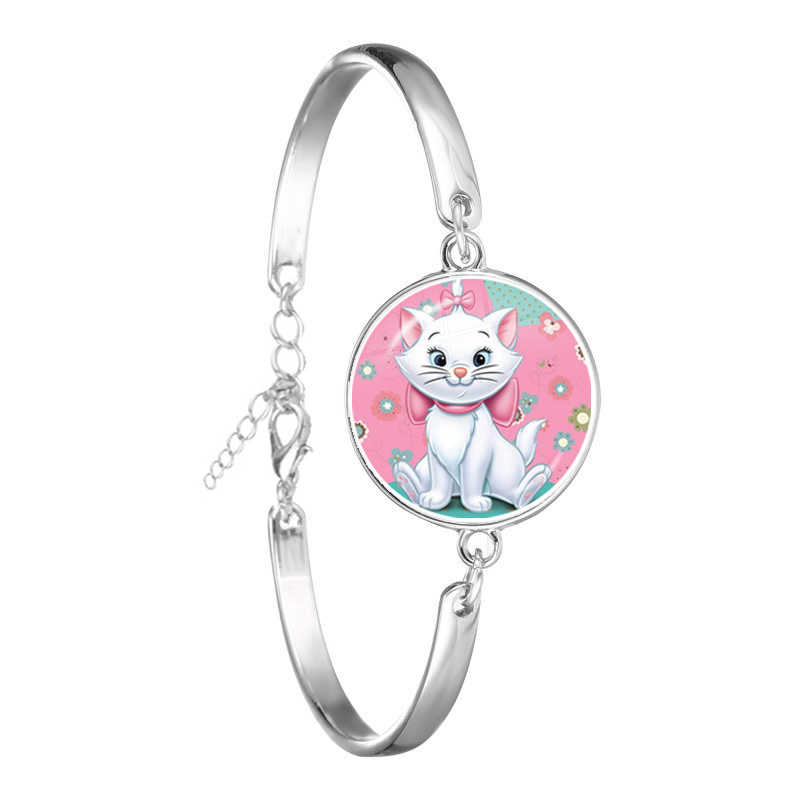 Anime Cartoon The Aristocats Glass Cabochon Bracelet CUTE Jewelry Marie Cat Fashion Chain Bangle For Women Men Kids Gift