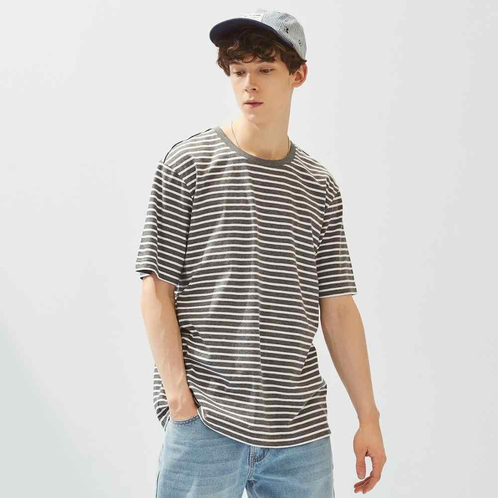 Metersbonwe 스트라이프 티셔츠 2020 뉴 여름 남성 스트라이프 홀리데이 트렌드 티셔츠 심플 트렌드 루스 캐주얼 반소매상의