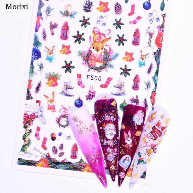 Фото наклейка для ногтей morixi на рождевечерние ринку 3d маникюрное
