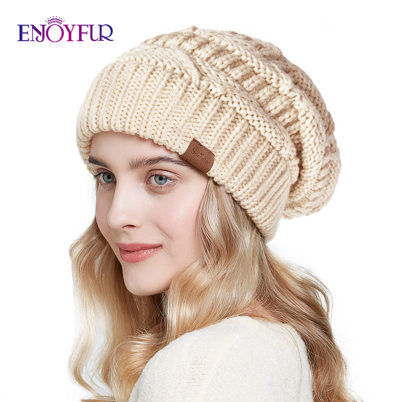 ENJOYFUR Slouchy Beanies Winter Knitted Hats For Women Warm Oversize Caps Female Autumn Fashion Hat