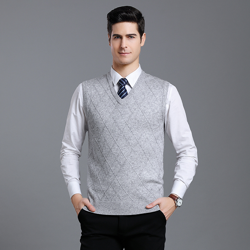 Fashion Brand Sweaters Mens Pullover V Neck Slim Fit Jumpers Knitred Vest Sleeveless Autumn Korean Style Casual Men Clothes