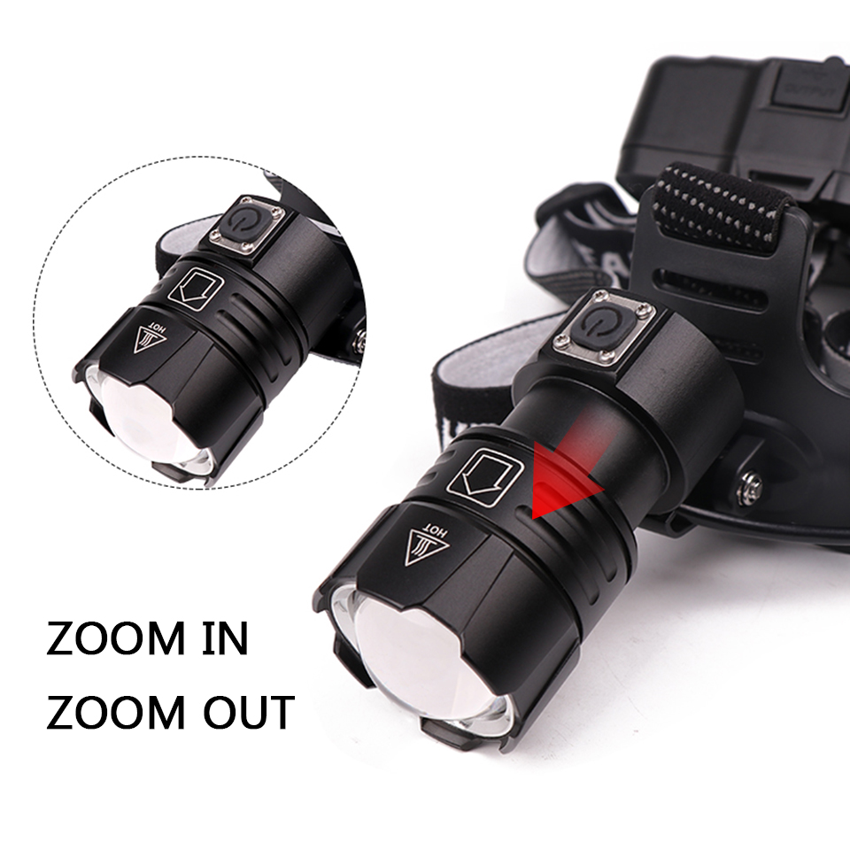 Image 4 - Z40Super Bright XHP90 USB Rechargeable Led Headlamp XHP70 Most Powerfull Headlight Fishing Camping ZOOM Torch by 3*18650 batteryHeadlamps   -