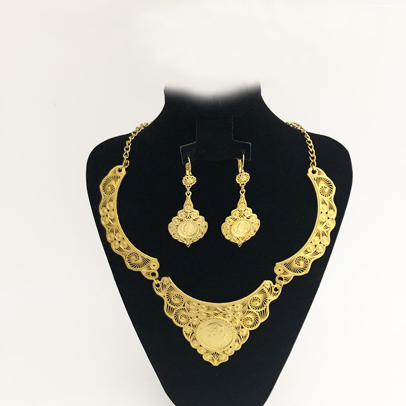 Algerian Golden Jewelry Set Coin Pendant Earring Algiers/Algeria Party Jewelry Middle Eastern And European Wedding Accessories Women Women's Accessories f02846ee759da375bf7e2a: gold2|gold3|gold4