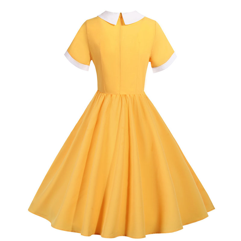 Yellow Bow V Neck Elegant Office Party Dress Women Summer Vintage High Waist Swing A-line Midi Sundress Plus Size Robe Femme 3
