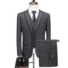 (Jackets+Vest+Pant)2020 Men Slim Business Suit Men
