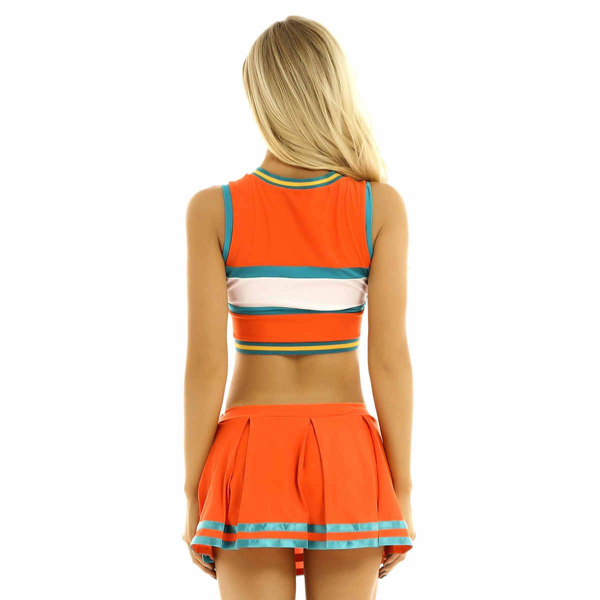 Frauen Cheerleading Sport Uniform Cheerleader Kostüm Cosplay Outfit Ärmel Crop Top mit Mini Plissee Rock für Tanzen