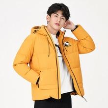 Parka Padded Down-Jacket Coat Hooded-Print SEMIR White Trendy Men Winter New Short Thick