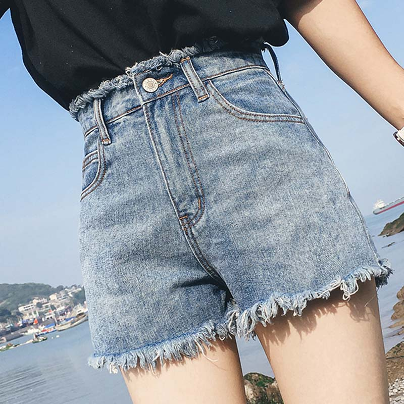 B 2020 Summer Women's Shorts Solid High Waist Raw Denim Shorts Zipper Fly Pockets Wide Leg Washed Loose Thin Female Shorts