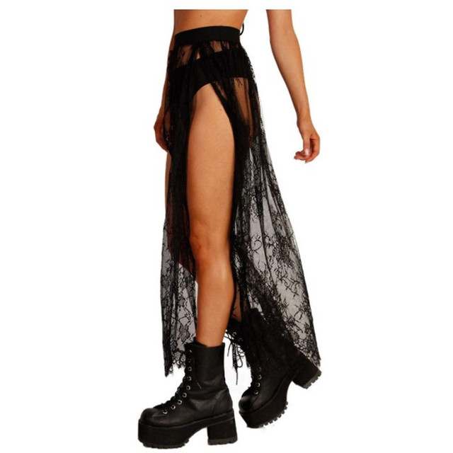 Sexy Side Slit Long Skirt For Festival/Party /Dancing Lace Tulle Mesh Skirs Petticoat 5