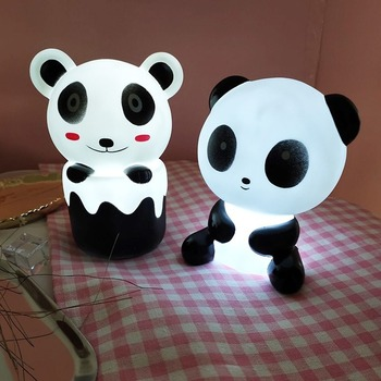 Pretty Cute Panda Cartoon Animal Night Light Kids Bed Desk Table Lamp Night Sleeping led night lamp Chrismas Gift Battery models children s room cartoon cloth desk lamp table lamp decorated sky small animal gift for kids