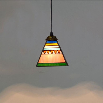 Tiffany Glass Small Led Pendant Light Vintage Retro Colorful Drop Lamp Bar Dining Room Restaurant Lighting Fixture 15cm 1220