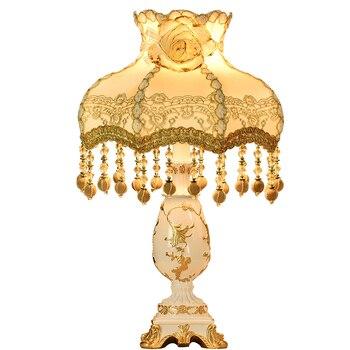 Wanlang European Desk Lamp Bedroom Bedside Lamp Princess Countryside Form Dimming Cozy Romantic Desk Lamp 5596
