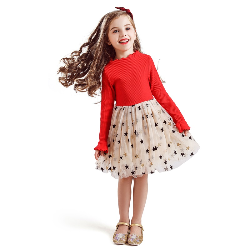 Kid Dresses For Girls Long Sleeve Girl Dress Sequin Star Children Dress Casual Dress Kid Dress Girl Party Wear Clothing Vestidos 2