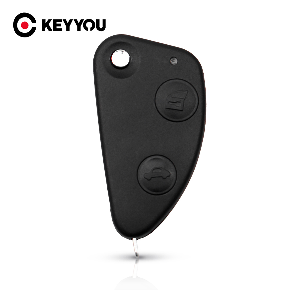 KEYYOU 2 Buttons <font><b>Key</b></font> Shell Car Flip Folding <font><b>Remote</b></font> <font><b>Key</b></font> Case Keyless Shell Cover Replacement For <font><b>Alfa</b></font> <font><b>Romeo</b></font> 147 <font><b>156</b></font> 166 GT image