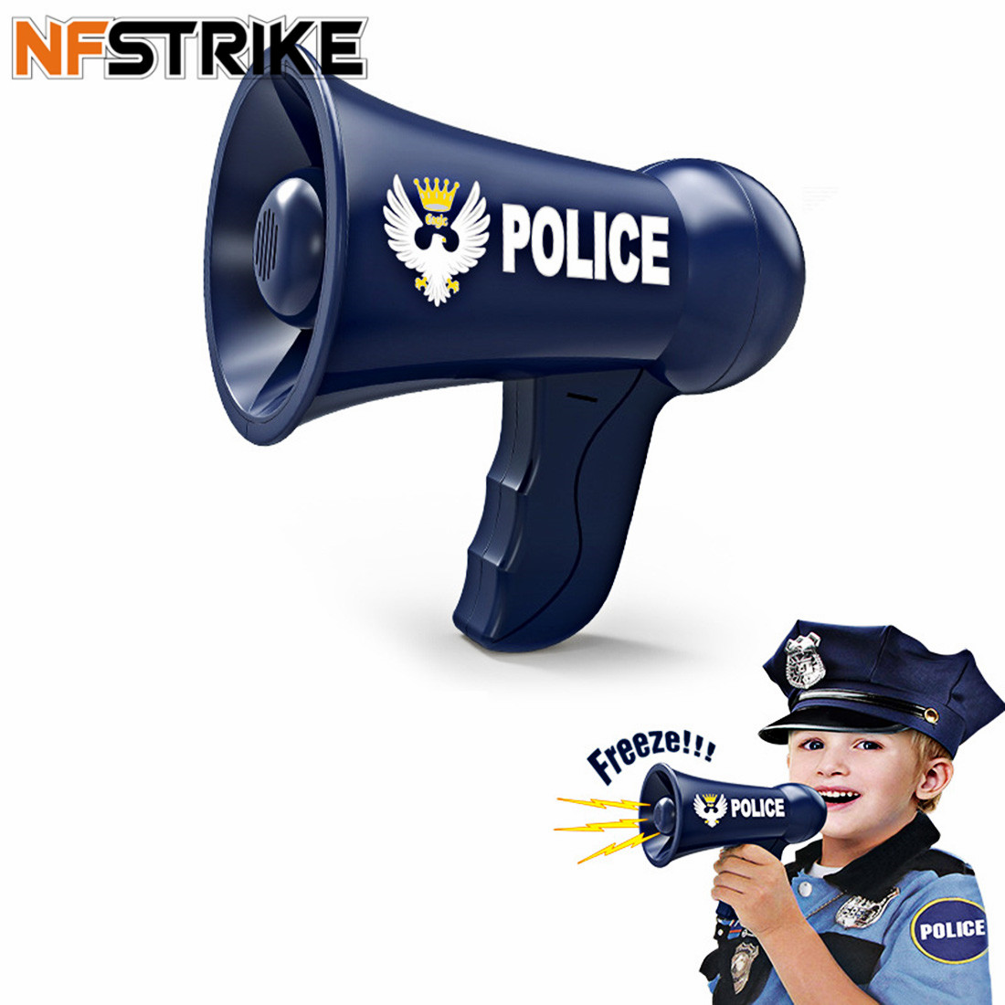 NFSTRIKE  Children Role Play Toy Battery Powered Police Megaphone Police Play Set Fro Kids Children New