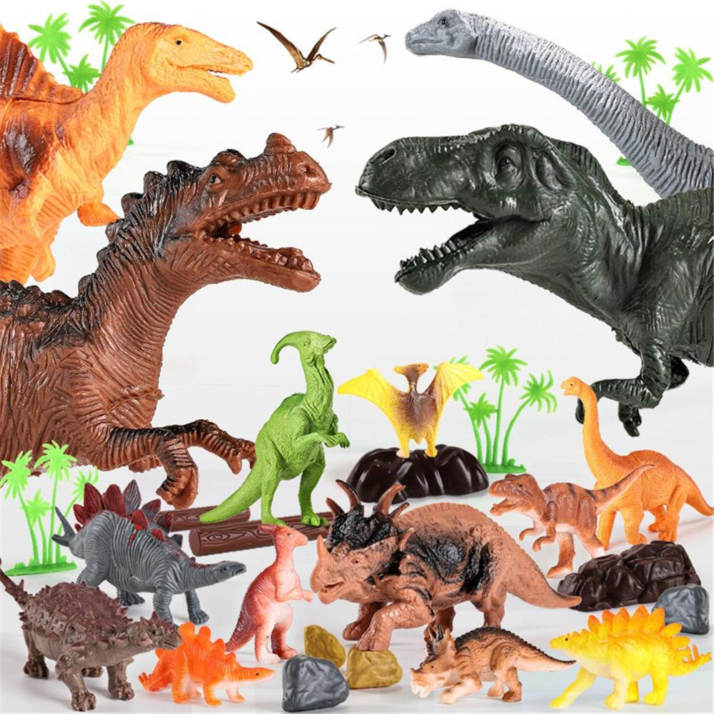 2019 NEW Children Boys And Girls Simulate Dinosaur Model Animal Toys Jurassic King Dragon Animal Model 44 Pieces Of Barrel