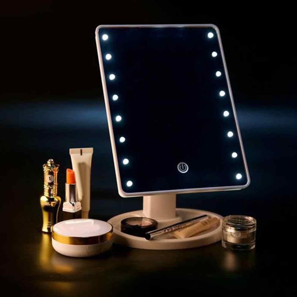 Espejo de maquillaje Led con luz de escritorio de almacenamiento Sensor táctil espejo giratorio 360 cuadrado maquillaje espejo recargable