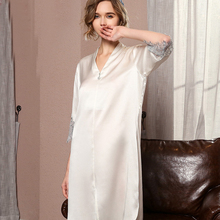Silk Nightgown Dress Summer Women Spring for Mulberry Lady Luruxy