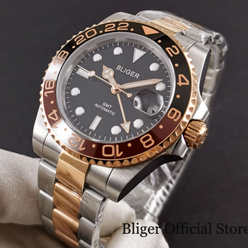 цена BLIGER Brand Rose Gold Automatic Men Watch Sapphire Glass GMT Hand Date Window Mental Strap Ceramic Bezel онлайн в 2017 году