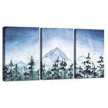 Горная Акварельная живопись набор в рамке из 3 принтов холст
