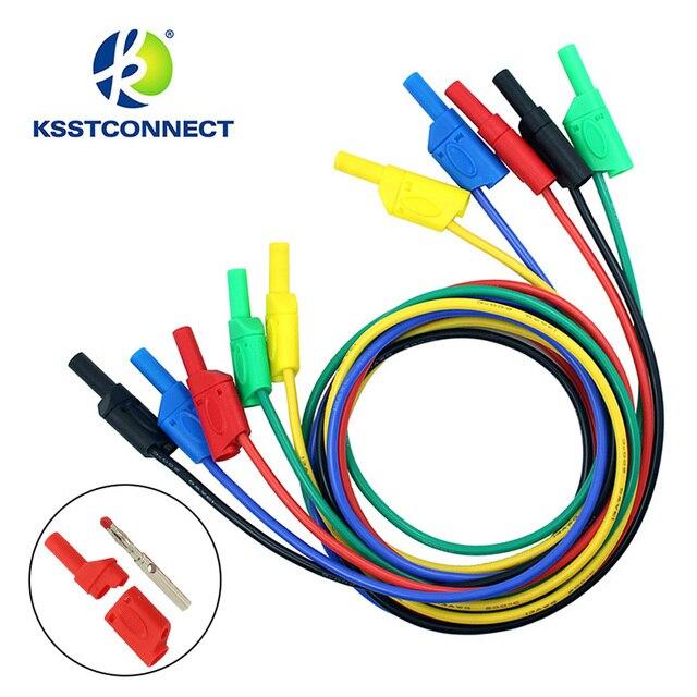 Fil de test en silicone flexible, de haute qualité, 13AWG, fil plaqué Nickel, fiche banane empilable, 4mm, TL440, 1.0 mètres