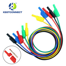 TL440  1.0meter High Quality 13AWG flexible silicone test leads Nickel plated 4mm Safety shrouded stackable banana plug