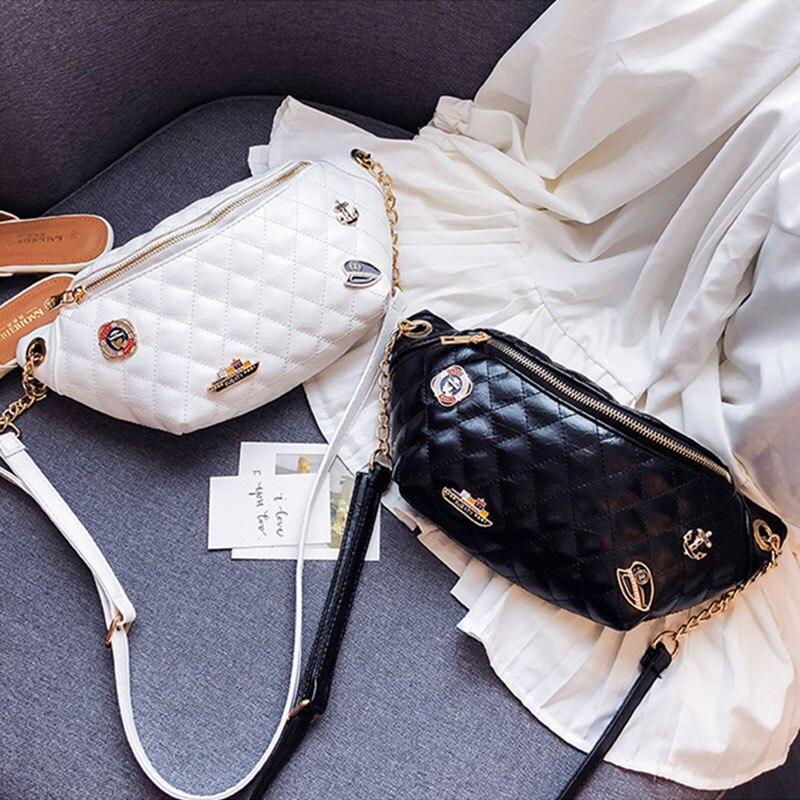 Women's PU Waist Bag Fanny Pack Belt Bags Fashion Chest Packs Luxury Chain Banana Bag Multi-function Female Waist Crossbody Pack
