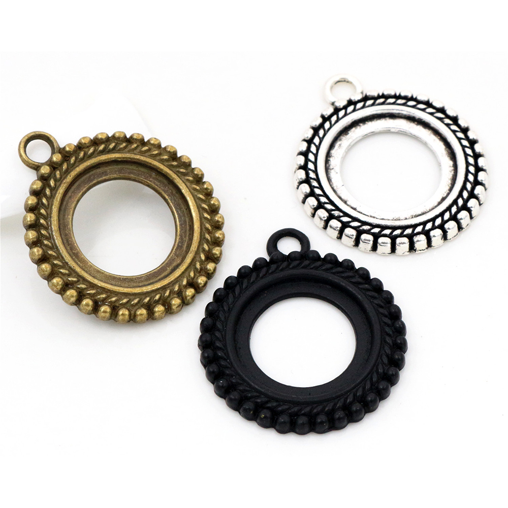 5pcs 20mm Inner Size Antique Silver Plated And Antique Bronze And Black Classic Style Cabochon Base Setting Charms Pendant