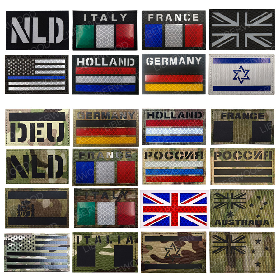 Multicam Flag Patch USA France Spain America Canada Israel AU NL Union Jack IR Infrared Military Morale Reflective Patches Badge(China)