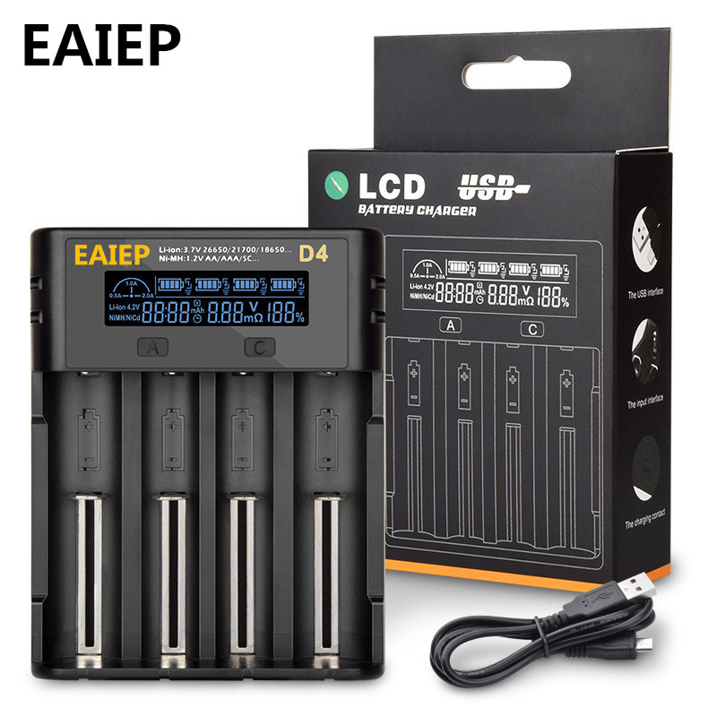 NEW EAIEP 1.2V 3.7V 3.2V 3.85V A/AAA 18650 18350 26650 10440 14500 16340 Li-ion NiMH battery smart charger image