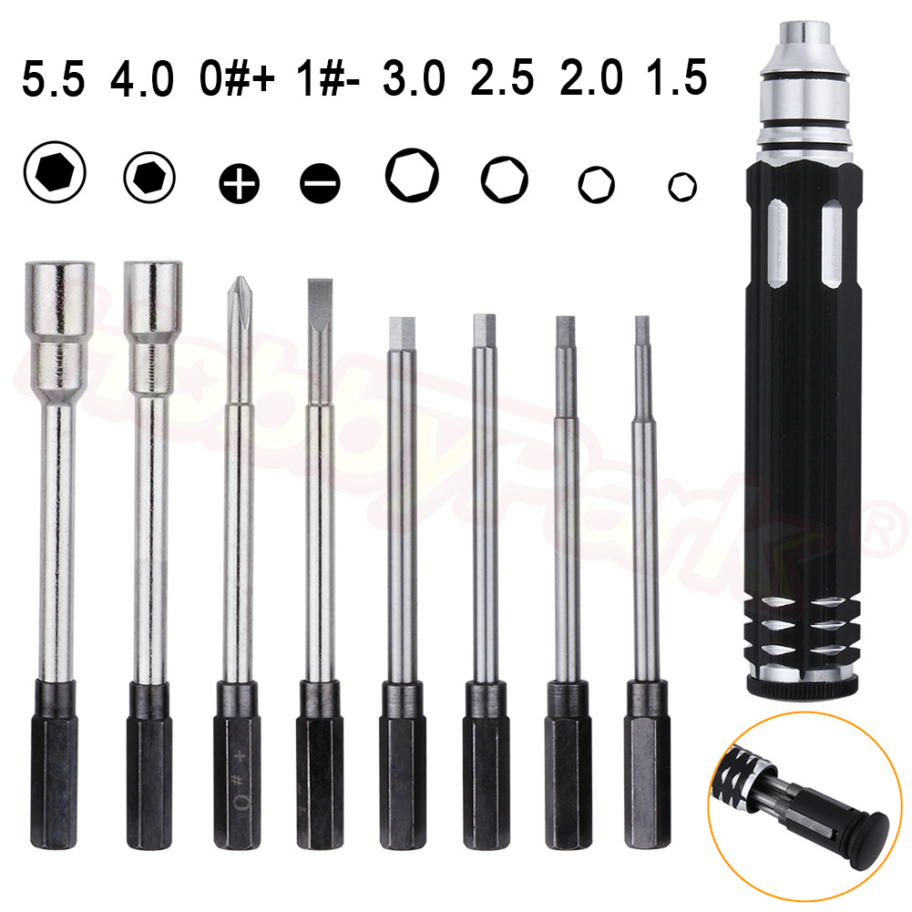 Pocket 8 In 1 Screwdriver Hobby Tools Kit For RC Car Drone Plane Hex Philip Spanner Socket Hexagon H1.5 H2.0 H2.5 H3.0