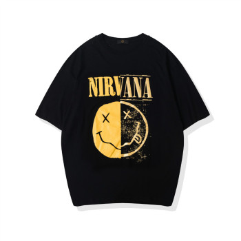 Cotton T Shirt Women Men Unisex Nirvana Print T Shirts Smile Face Men Tshirt Summer Short Sleeve T-shirt Vintage Rock'n Roll Tee face print dolman sleeve curved hem tshirt