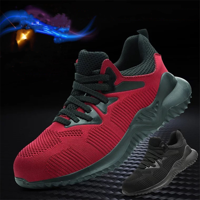 dewbest Safety Shoes Men Wear resistant Light Breathable Boots Anti-slip Rubber Outsole anti-Smashing Puncture Proof Work Shoes