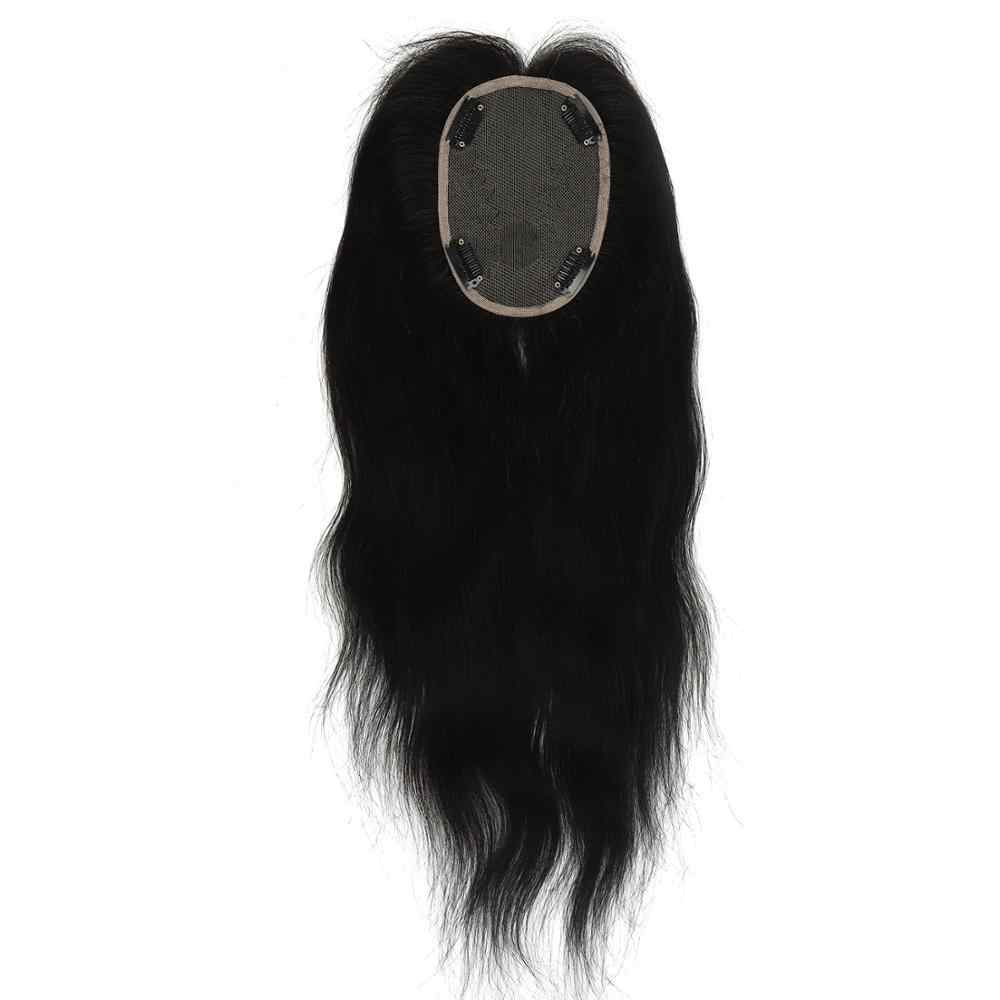 Neitsi 10*13 cm 14 inch Straight Remy Human Hair Topper Wig 100% Real Hair Silk Base With Clip Ins Hair Toupee 180% Density 60g