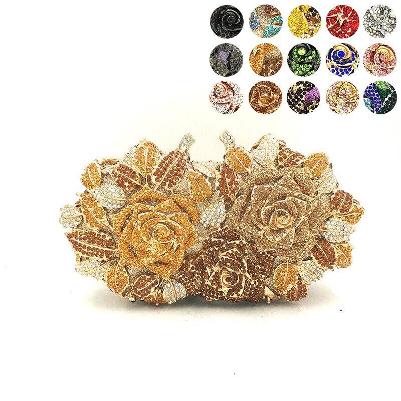 Bagaj ve Çantalar'ten Üstten Saplı Çanta'de Lüks manşonlar kadın akşam parti çantası elmas çiçek gül kristal çantalar kristal manşonlar gelin düğün parti cüzdan çantalar'da  Grup 1