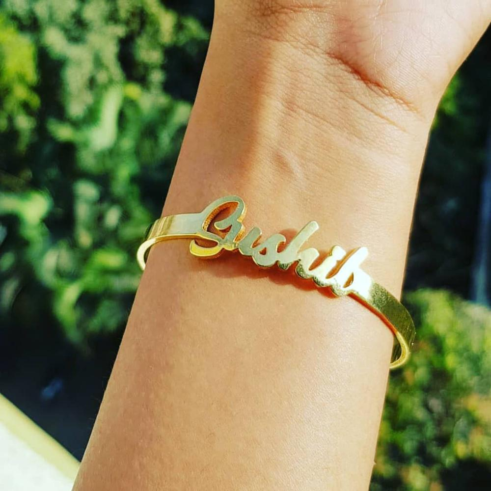 Custom Name Bracelet Personalized Bangles For Women Girls Gold Silver Bangle Stainless Steel Nameplate Bracelets BFF Jewelry