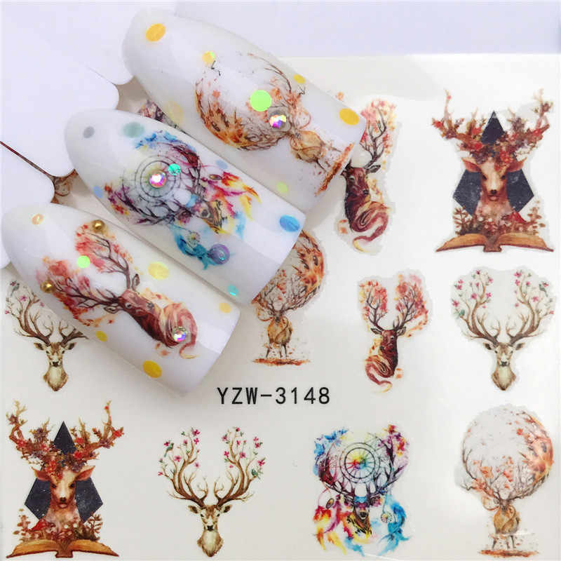 1 Pcs Winter Kerst Slider Nail Decals Nail Art Sticker Diy Manicure Water Accessoire Transfer Folie 2020 Nieuwe Xmas Gift