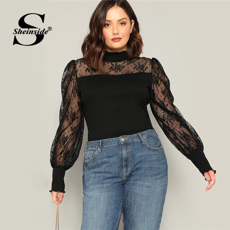 Sheinside Plus Size Casual Contrast Floral Lace T-shirt Women 2019 Autumn Elastic Bishop Sleeve Tee Ladies Stand Collar Top