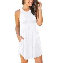 Vintage bolso branco vestidos de verão feminino plus size pulôver vestidos o-pescoço sem mangas vestido casual vestidos longos de verao