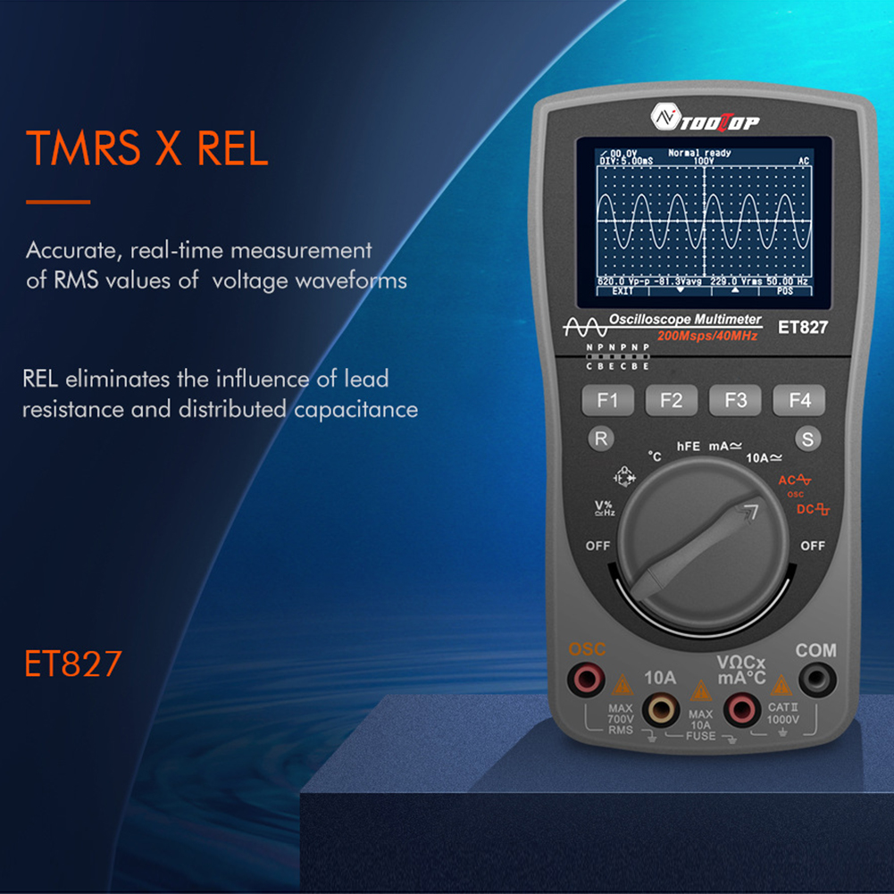 ET827 HD Screen Handheld Multimeter Intelligent Measurement 200Msps Tools 2 In 1 Battery Powered Digital Oscilloscope #734
