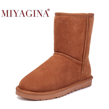 100% Genuine leather Snow boots women Top quality Australia Boots Winter for Warm Botas Mujer