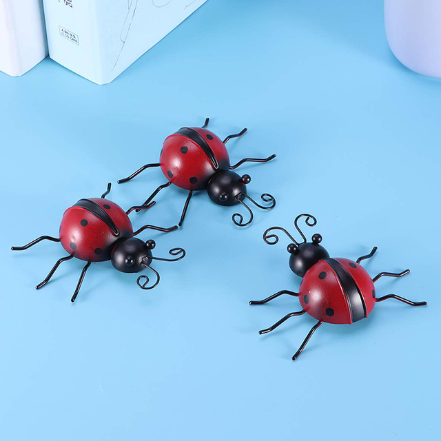 3pcs Outdoor Garden Iron Home Sturdy Craft Hanging Ornament Ladybug Shape Decoration Anti Fade Wall Art Weatherproof Traceless 5