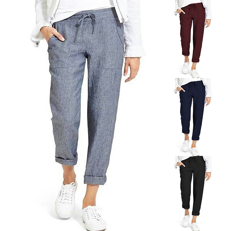 Summer Drawstring Cargo Pants Women's Autumn Trousers 2019 ZANZEA Vintage Elastic Waist Pantalon Woman Palazzo Plus Size Pant