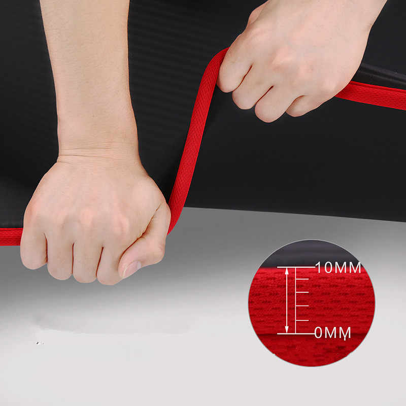 10MM bardzo gruba 183cm X 61cm wysokiej jakości NRB antypoślizgowe maty do jogi dla Fitness Tasteless Pilates Gym ćwiczenia klocki z bandażami